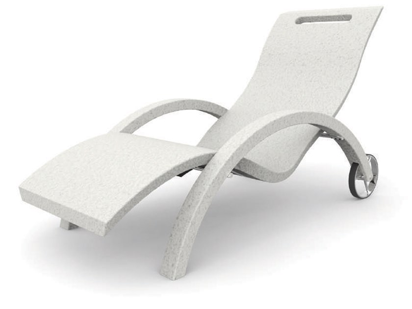 Polyethylene garden daybed with armrests with Casters SERENDIPITY® CHAISE S110 by ARKEMA DESIGN