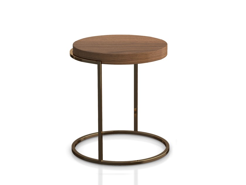 Round wooden side table SERVOGIRO by PIANCA