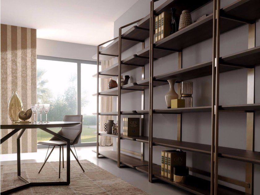 Open sectional steel and wood bookcase SESTANTE | Bookcase by Esedra