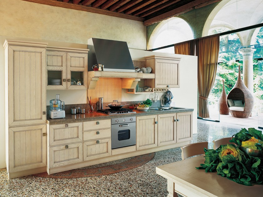 Linear ash kitchen with handles SETTECENTO by GD Arredamenti