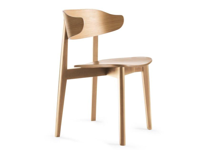 Sedia impilabile in legno impiallacciato con schienale aperto SETTER | Sedia by Deadgood