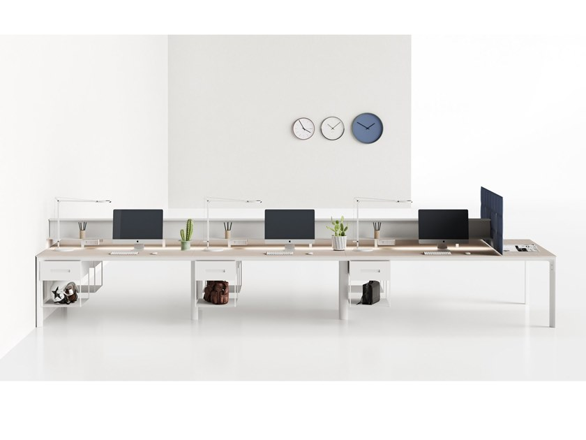 Multiple office workstation with desk screens SEVENTY SEVEN | Office workstation with desk screens by CUF Milano