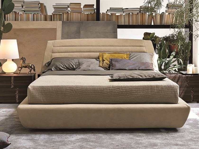 Upholstered leather double bed SEVILLE by Gruppo Tomasella