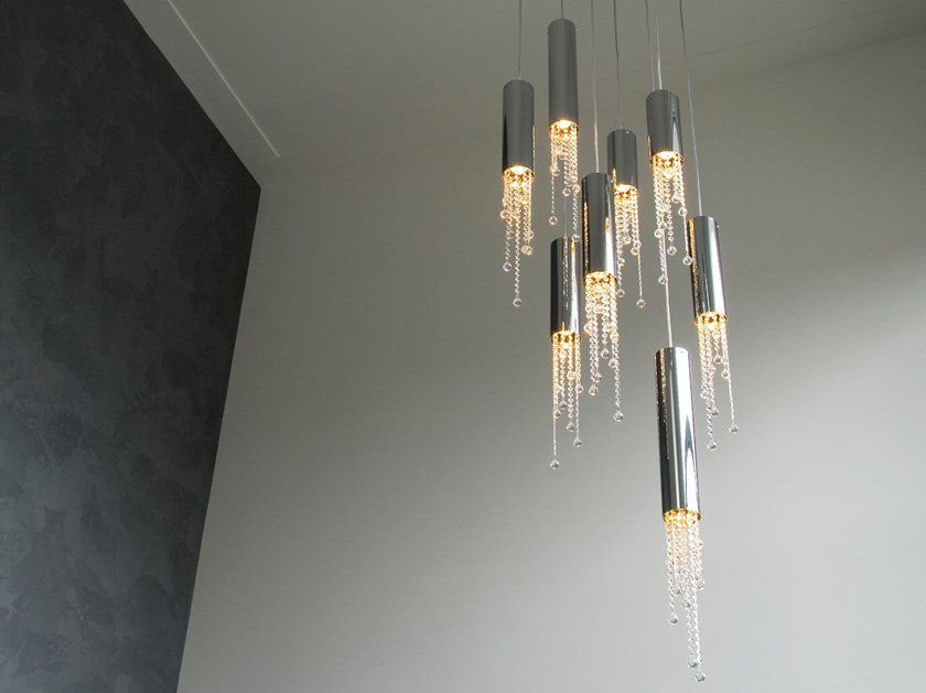 Metal pendant lamp with crystals SEXY CRYSTAL H8 by ILFARI