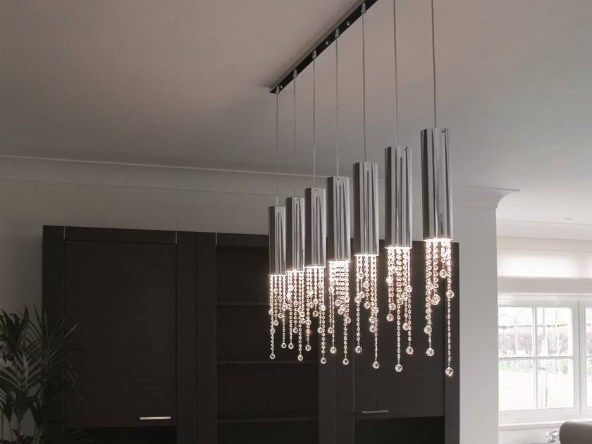 Metal pendant lamp with crystals SEXY CRYSTALS H7 by ILFARI