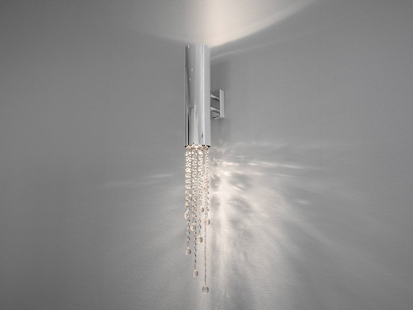 Contemporary style direct-indirect light metal wall lamp with crystals with Swarovski® crystals SEXY CRYSTALS W1+1 by ILFARI