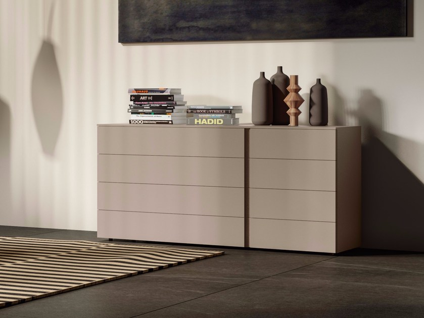 Wooden chest of drawers with integrated handles SHADE | Chest of drawers by JESSE