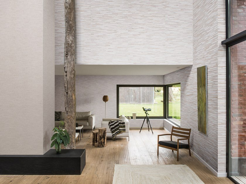 Nonwoven wallpaper SHADES OF PALE - WATERLILY PAPER WEAVE by Omexco