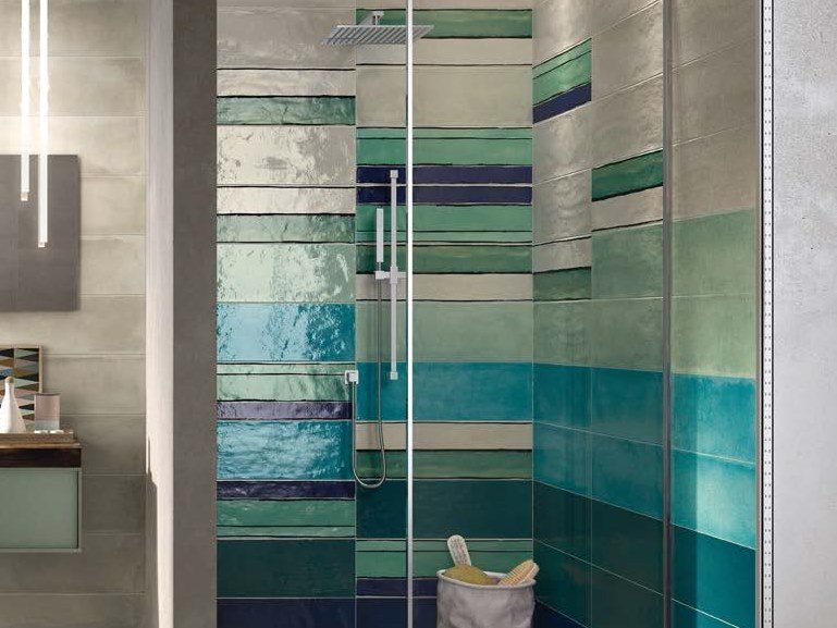 Double-fired ceramic wall tiles SHADES STRIPES SEA MIX by Ceramica d'Imola