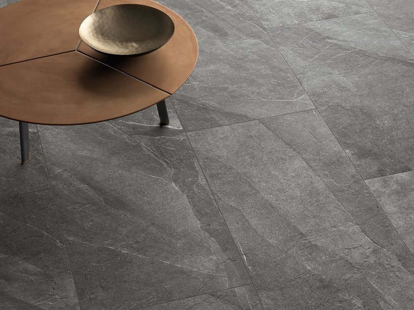 Porcelain stoneware wall/floor tiles with stone effect SHALE Ash by Italgraniti