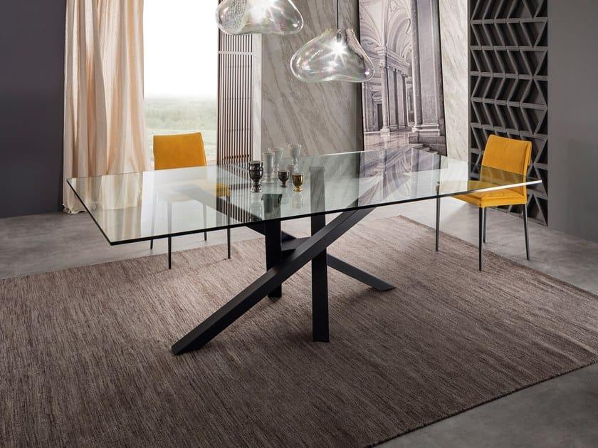 Shangai tavolo in acciaio inox e cristallo by riflessi - Tavolo pranzo cristallo ...