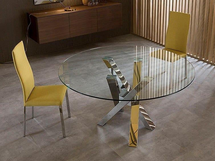Tavolo rotondo in acciaio inox e cristallo SHANGAI | Tavolo ...