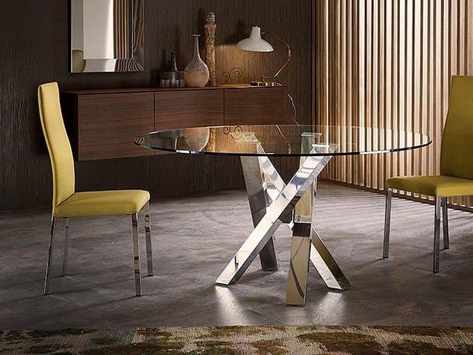 Tavolo con piano in legno e supporto in acciaio inox idfdesign