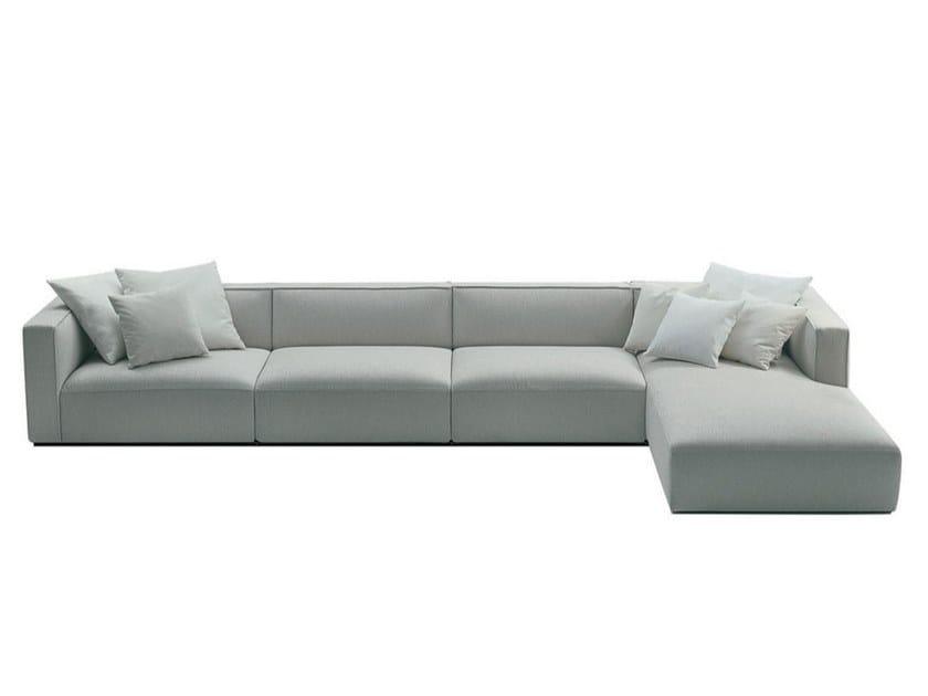 Sofá secional de tecido com estojo removível com chaise-longues SHANGAI | Sofá com chaise-longues by Poliform