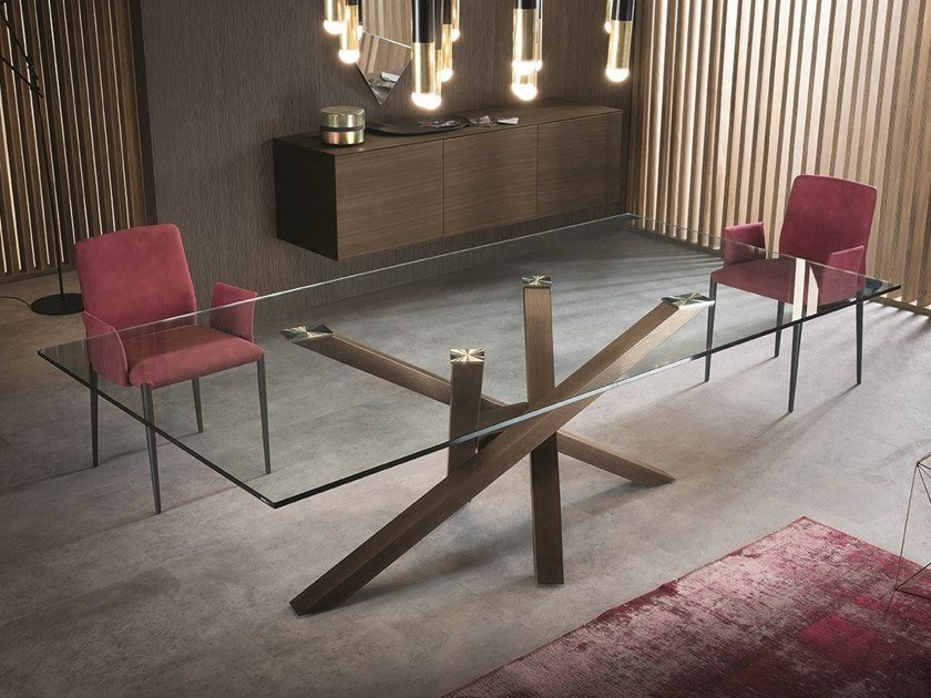Tavolo Cristallo In Vetro.Shangai Wood And Glass Table By Riflessi