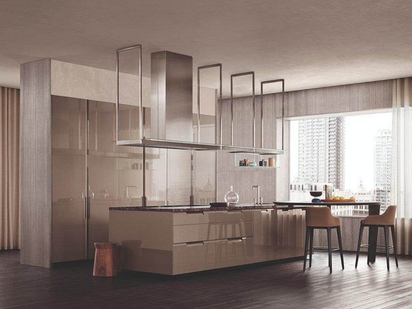 Fitted kitchen with integrated handles SHAPE by poliform