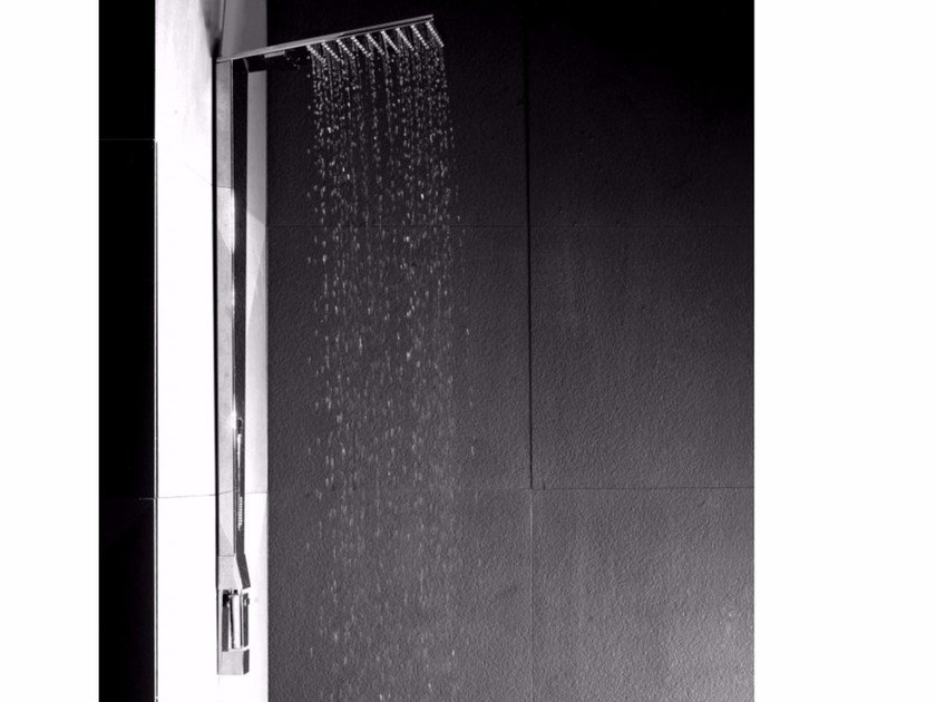 Wall-mounted brass shower panel with overhead shower SHARP | Wall-mounted shower panel by tender rain