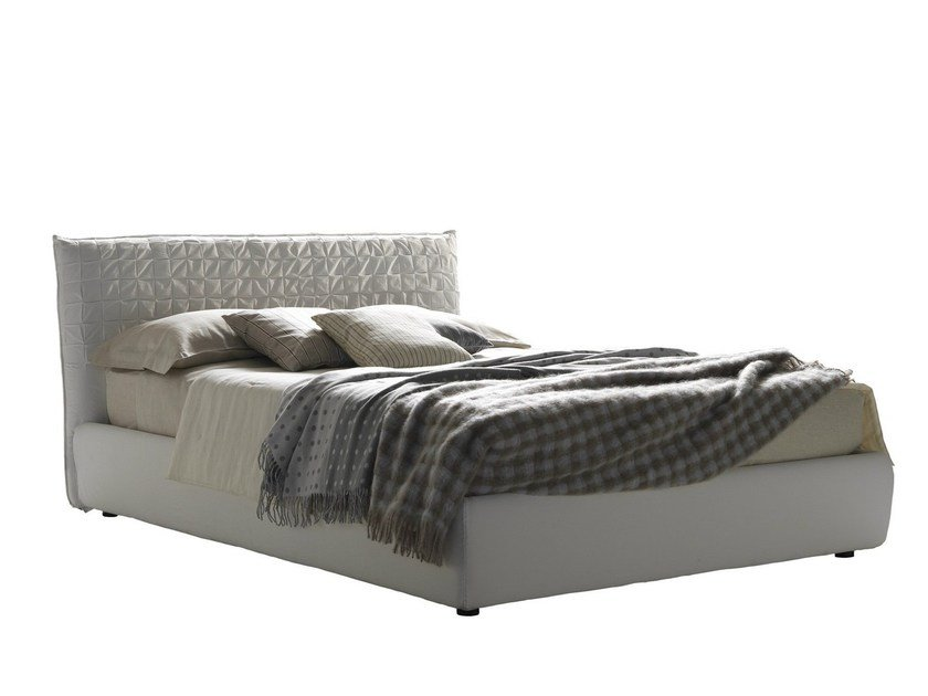 Fabric double bed with upholstered headboard SHEEN | Bed by Bolzan Letti