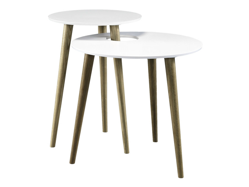 Stackable lacquered oak side table SHELL by AZEA