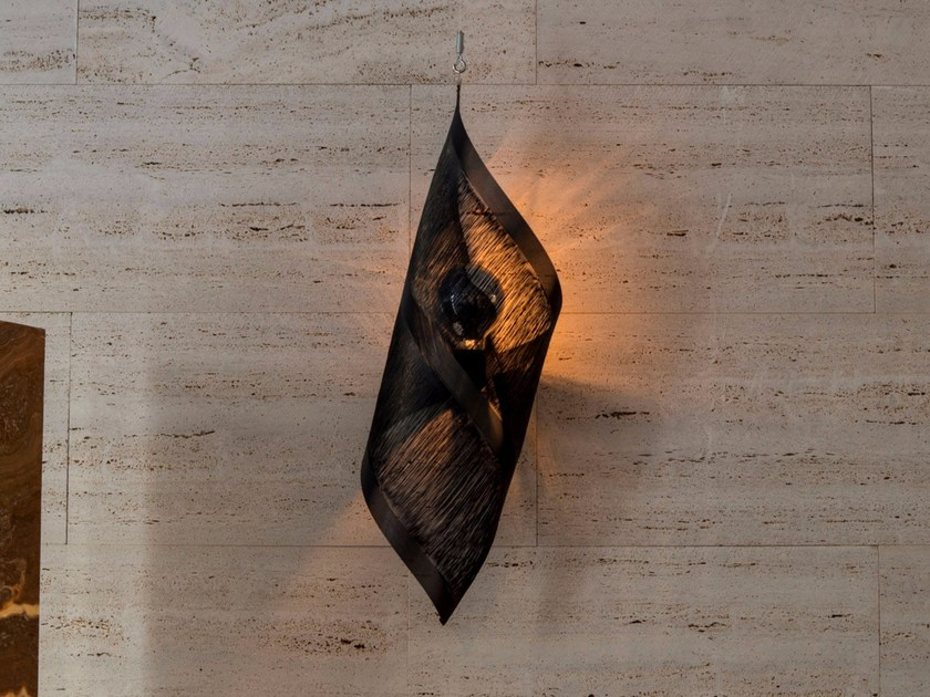 Metallic fabric wall light SHELL by Placidia