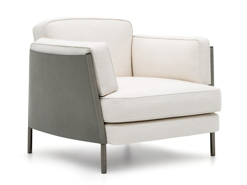 Fabric armchair with armrests SHELLEY | Armchair by Minotti