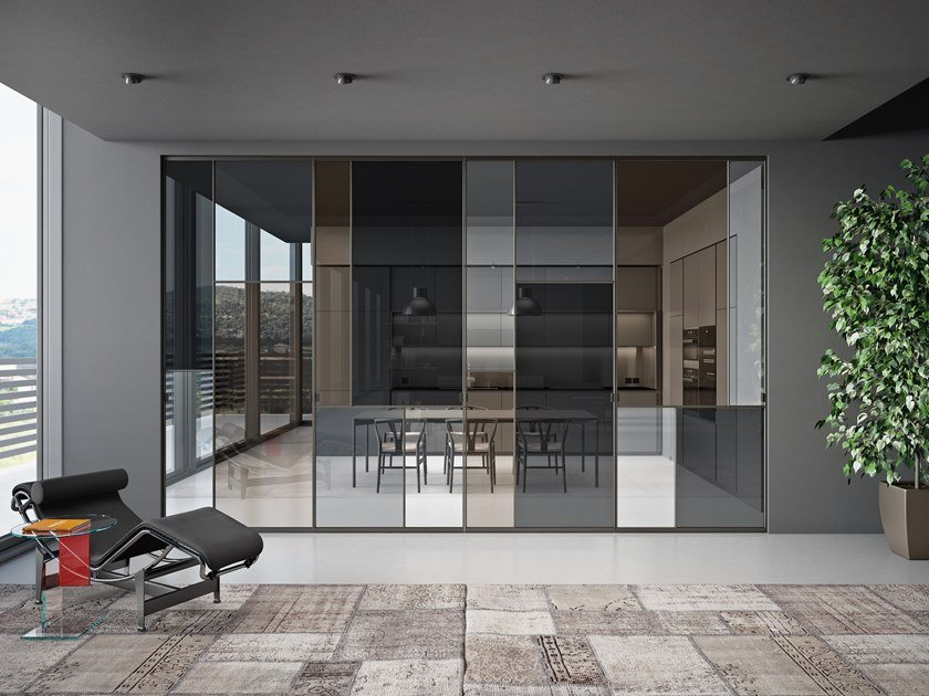 Porta a bilico in alluminio e vetro SHERAZADE PATCHWORK SPIN by Glas Italia