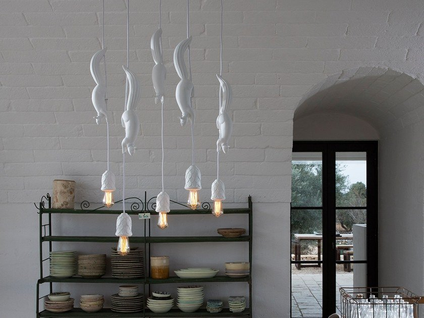 Direct light ceramic pendant lamp SHERWOOD & ROBIN by Karman