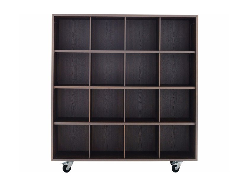 Open solid wood bookcase with casters SHIGETO BOX by DE PADOVA