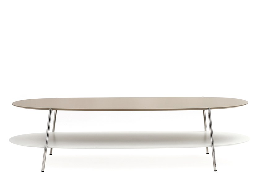 Low oval MDF coffee table SHIKA   Coffee table with storage space by COEDITION
