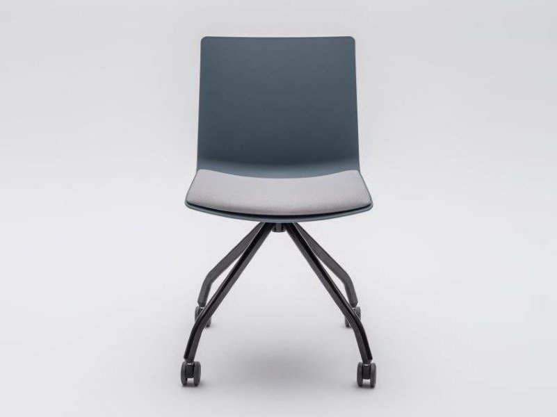 Trestle-based plastic chair with castors SHILA | Trestle-based chair by MDD