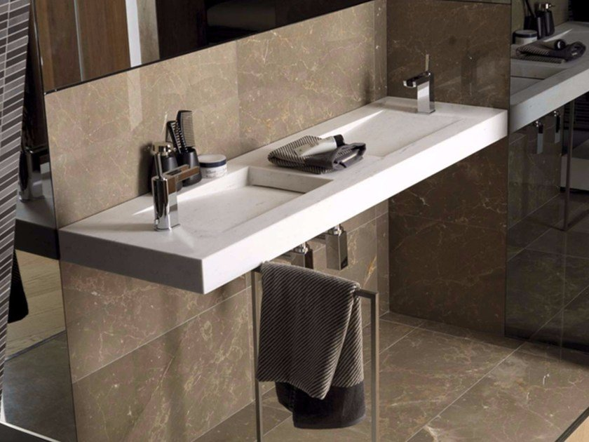 Double rectangular wall-mounted natural stone washbasin SHIMA by L'antic Colonial