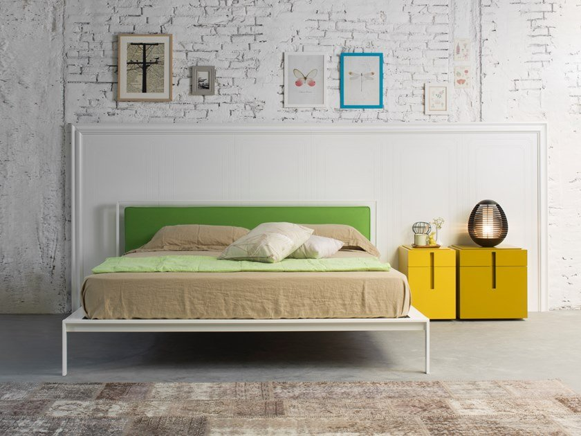 Metal bed with upholstered headboard SHINE by Capo d'Opera
