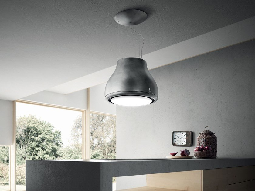 Dunstabzugshaube aus metall mit integrierter beleuchtung shining by