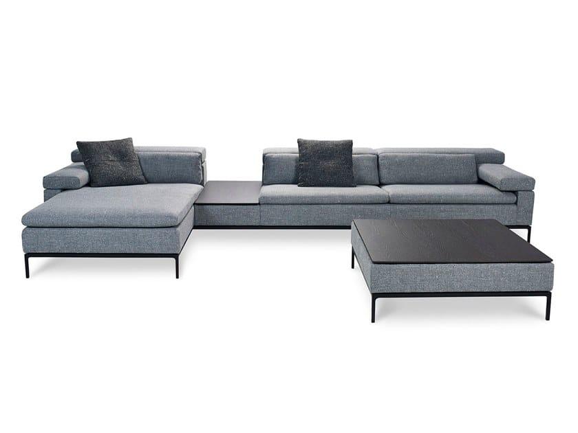 Sofa with chaise longue SHIVA | Fabric sofa by JORI