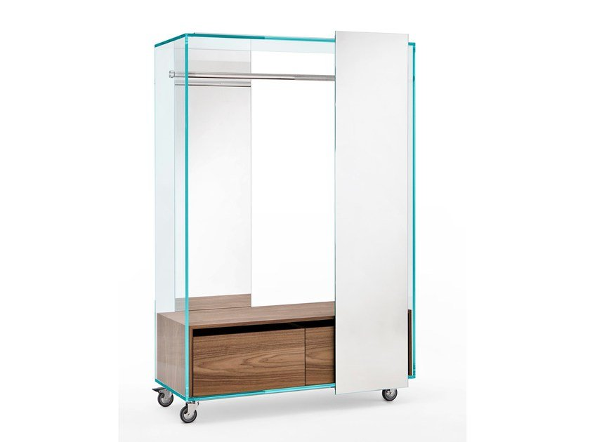 Mirrored wardrobe with casters SHOJI | Wardrobe with casters by Tonelli Design
