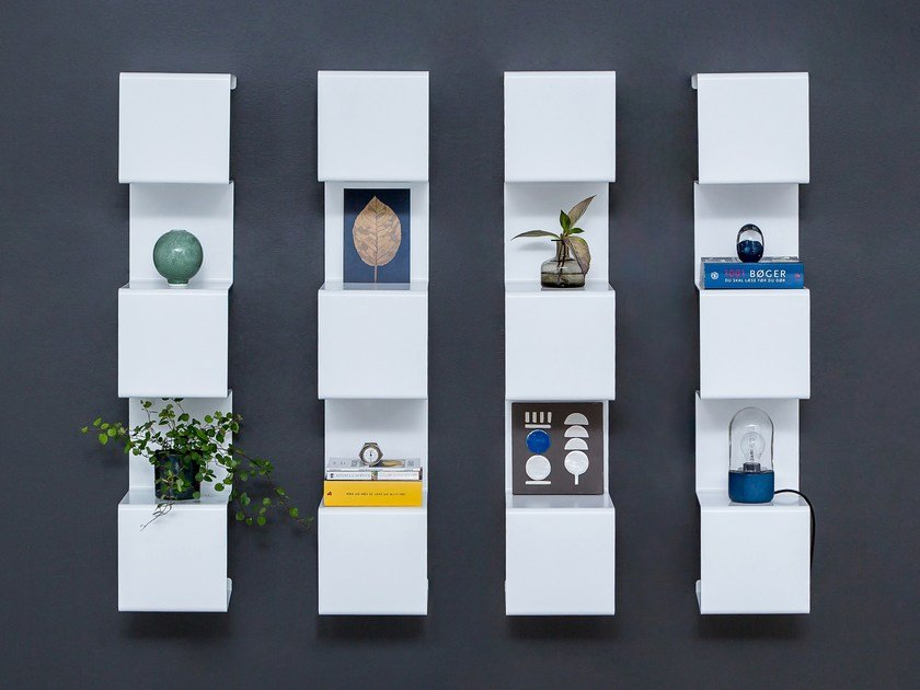 Wall-mounted powder coated aluminium bookcase SHOWCASE#4 by Anne Linde