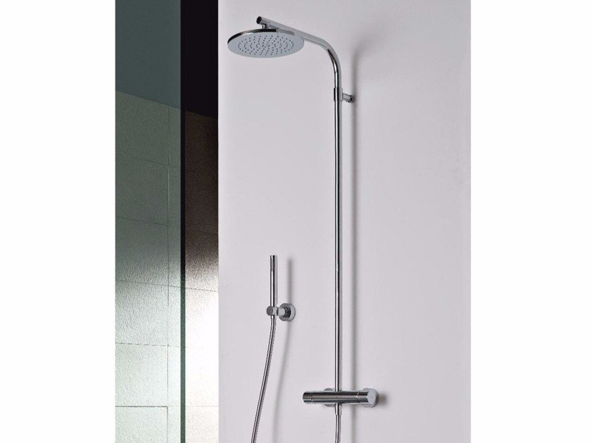Wall-mounted thermostatic shower panel with overhead shower SHOWER | Shower panel with overhead shower by ZAZZERI