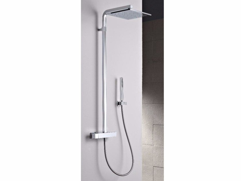Wall-mounted thermostatic shower panel with overhead shower SHOWER | Thermostatic shower panel by ZAZZERI