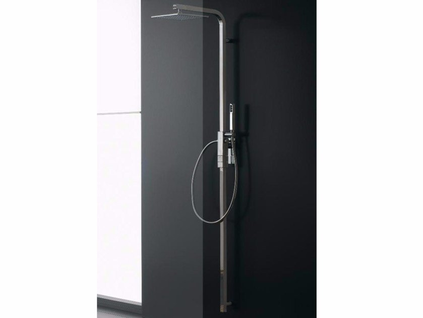 Wall-mounted thermostatic shower panel with overhead shower SHOWER | Wall-mounted shower panel by ZAZZERI