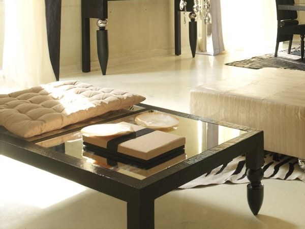 Rectangular wood and glass coffee table SI ACCOMODI by Scandal