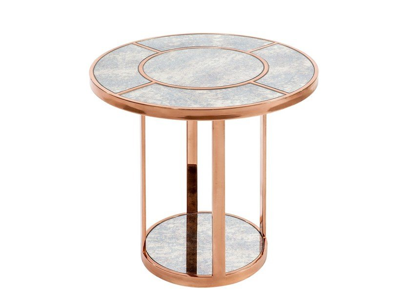 Round marble side table SIDE-LINER by KONTRA