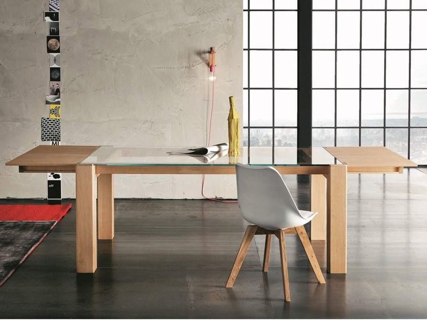 Extending rectangular wood and glass table SIDNEY by AltaCorte