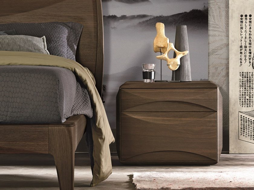 Rectangular oak bedside table with drawers SIDNEY | Oak bedside table by Gruppo Tomasella