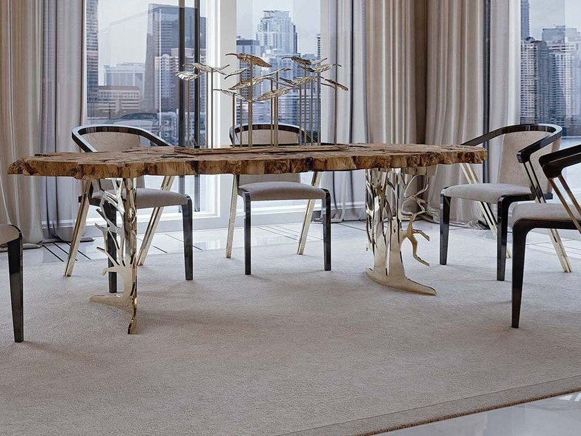 Rectangular briar dining table SIDNEY | Wooden table by Bizzotto