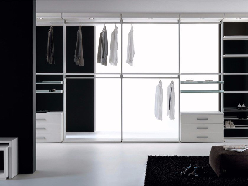 Sectional melamine-faced chipboard walk-in wardrobe SIDUS by RES
