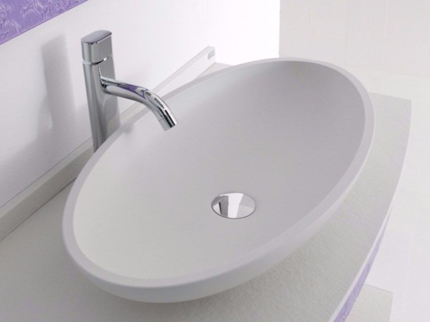 Countertop oval single Silexpol® washbasin SIGMA by Fiora