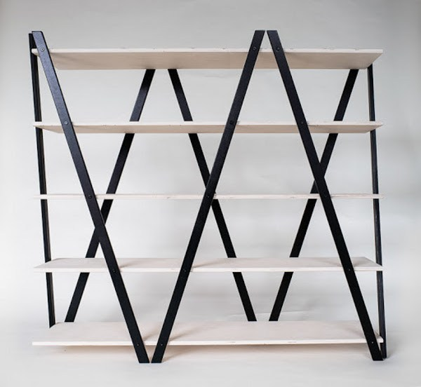 Open double-sided divider plywood shelving unit SIK-SAK by Radis