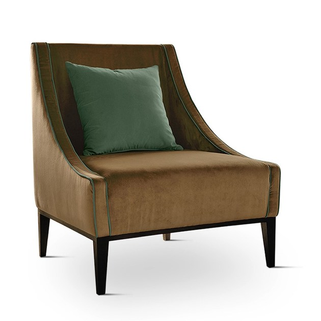 Contemporary style upholstered fabric guest chair with removable cover SIKKA BASE | Armchair by Domingo Salotti