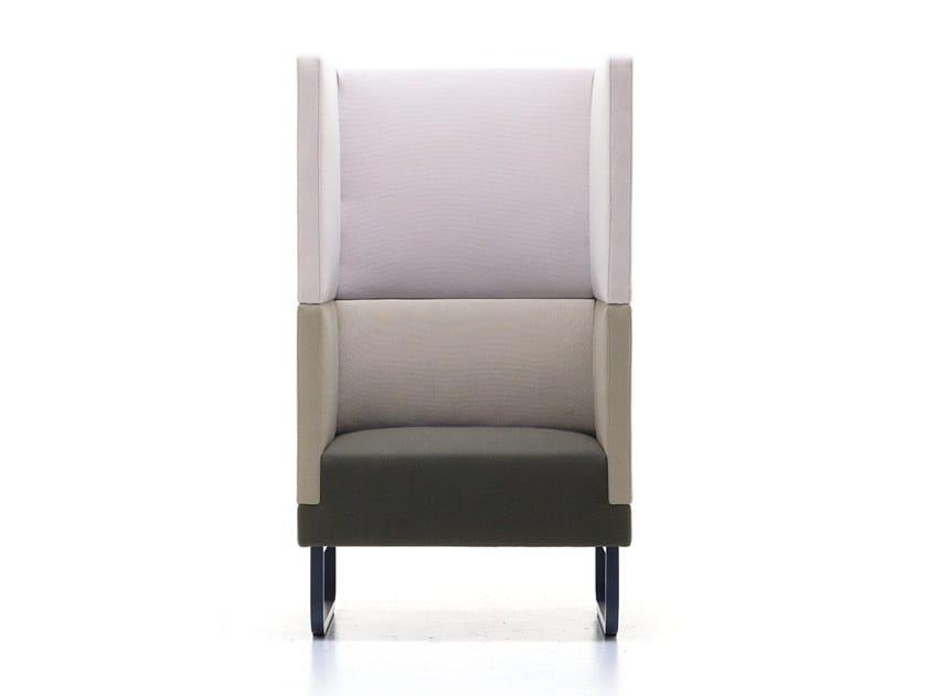 Sled base high-back fabric armchair SILENCE-AH by Ferrante