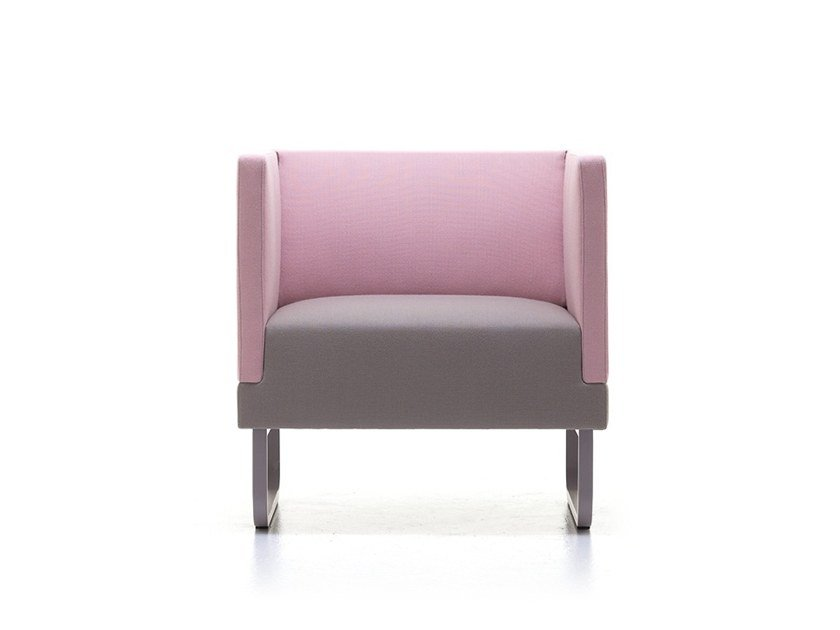 Upholstered fabric armchair with armrests SILENCE-AL by Ferrante